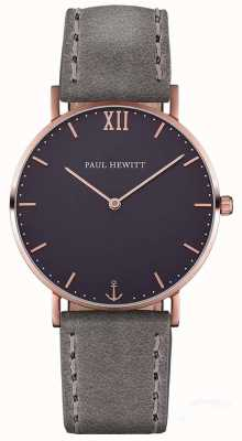 Paul Hewitt Cinta de couro cinza marinheiro unissex PH-SA-R-ST-B-13M