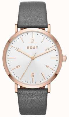 DKNY Relógio de couro cinzento minetta para mulher NY2652