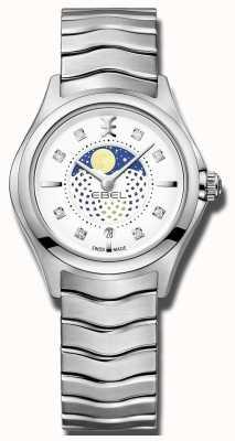 EBEL Womens onda moonphase relógio de aço inoxidável 1216372