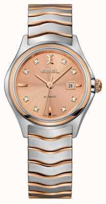 EBEL Womens onda diamante conjunto dois tons rosa-ouro relógio 1216328