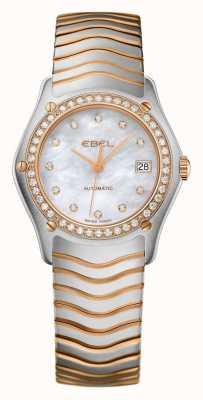 EBEL Womens onda diamante conjunto de dois tons relógio automático 1215928