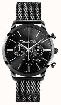 Thomas Sabo Relógio de crono de aço inoxidável preto para homem WA0291-287-203-42