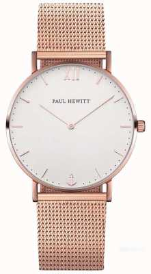 Paul Hewitt Marinheiro unissex 39mm rose gold mesh bracelet PH-SA-R-ST-W-4M