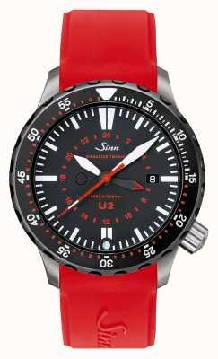 Sinn U2 sdr u-boat aço temporizador de mergulho mergulhador silicone vermelho 1020.040