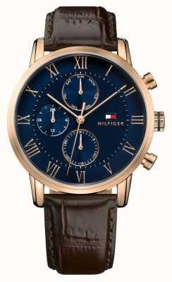 Tommy Hilfiger Kane cronógrafo mostrador azul pulseira de couro marrom 1791399