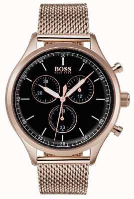 Boss Mens companheiro cronógrafo rosa pulseira de malha de ouro 1513548