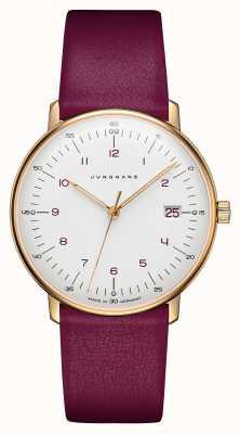 Junghans Max bill senhoras de quartzo | pulseira de couro de bezerro rosa 047/7850.00