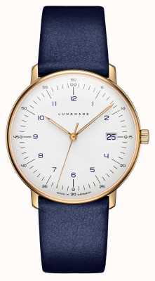 Junghans Max bill senhoras de quartzo | pulseira de couro azul | 047/7851.00