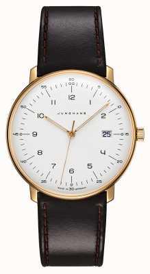 Junghans Nota máxima de quartzo | pulseira de couro preto | caso banhado a ouro 041/7872.04