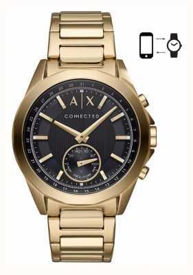 Armani Exchange Mens híbrido smartwatch tom de ouro pulseira de discagem preta AXT1008