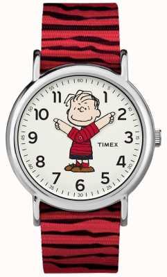 Timex Weekender amendoim linus cinta vermelha TW2R412006B