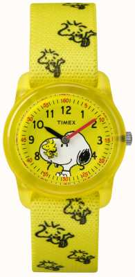 Timex Juventude analógica amarelo cinta woodstock snoopy TW2R41500JE