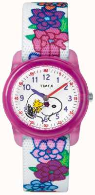Timex Juventude análogo branco cinta snoopy flores TW2R41700JE