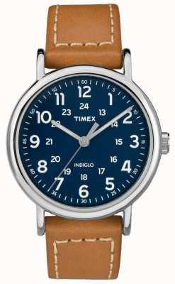 Timex Mens weekender tan tira de couro azul discagem TW2R42500D7PF