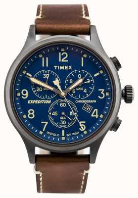 Timex Expedition scout cronógrafo marrom pulseira mostrador azul TW4B09000D