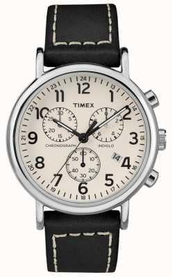 Timex Mens weekender cronógrafo pulseira de couro preto TW2R42800D7PF