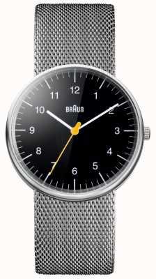 Braun Relógio de pulseira de malha de aço unisex BN0021BKSLMHG