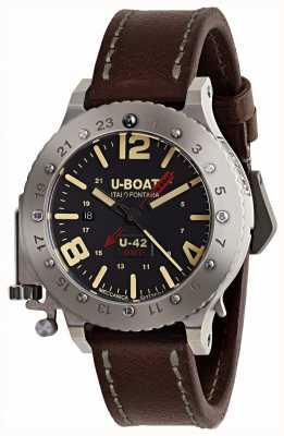 U-Boat Pulseira de couro marrom de edição limitada u-42 gmt 50mm 8095