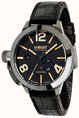 U-Boat Stratos pulseira de couro preta automática de 45 bk 9006