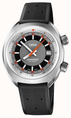 Oris Chronoris data cinza mostrador preto pulseira de borracha 01 733 7737 4053-07 4 19 01FC