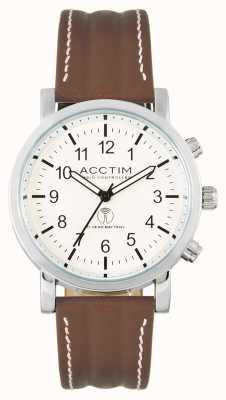 Acctim Relógio Pilota com pulseira de couro marrom, controlado por rádio 60236