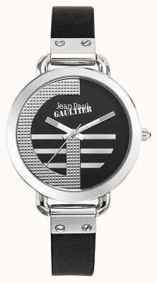 Jean Paul Gaultier Índice de mulheres g pulseira de couro preto mostrador preto JP8504315