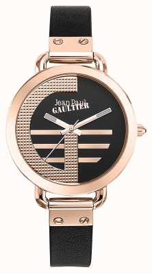Jean Paul Gaultier Índice de mulheres g pulseira de couro marrom mostrador preto JP8504325