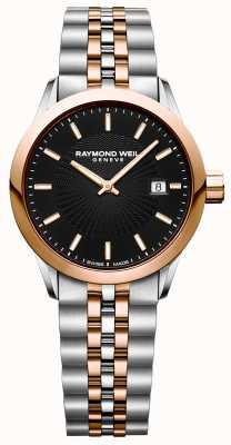 Raymond Weil Relógio de quartzo feminino freelancer pulseira de dois tons 5629-SP5-20021