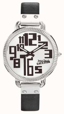 Jean Paul Gaultier Mostrador preto pulseira de couro preto índice de mulheres JP8504305
