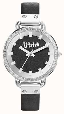 Jean Paul Gaultier Mostrador preto pulseira de couro preto índice de mulheres JP8504312
