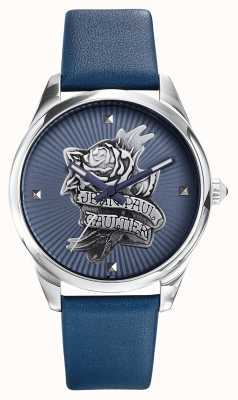 Jean Paul Gaultier Tatoo marinha pulseira de couro azul mostrador azul JP8502413