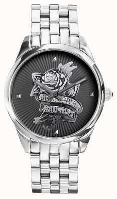 Jean Paul Gaultier Tatoo Marinha pulseira de aço inoxidável mostrador preto JP8502407