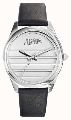 Jean Paul Gaultier Pulseira de couro preto Marinha mostrador branco JP8502408