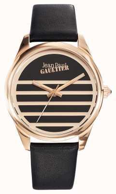 Jean Paul Gaultier Mostrador preto pulseira de couro preto da Marinha JP8502410