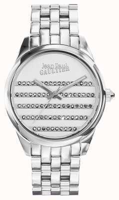 Jean Paul Gaultier Pulseira de aço inoxidável da Marinha mostrador branco JP8502404