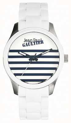 Jean Paul Gaultier Enfants terribles pulseira de aço branco de borracha mostrador branco JP8501120