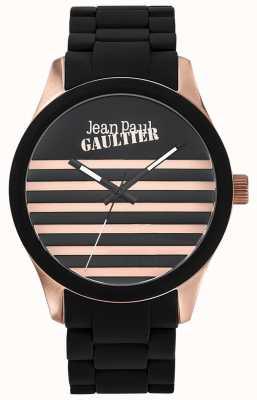 Jean Paul Gaultier Enfants terribles pulseira de aço preto de borracha pulseira preta JP8501122