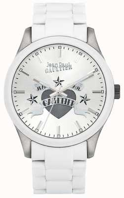 Jean Paul Gaultier Enfants terribles pulseira de aço branco de borracha mostrador branco JP8501123