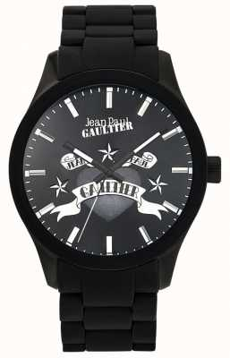Jean Paul Gaultier Enfants terribles pulseira de borracha preta mostrador preto JP8501125