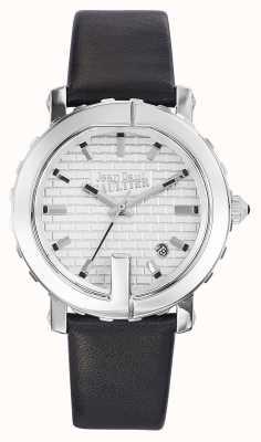 Jean Paul Gaultier Ponto de mulheres g pulseira de couro preto mostrador prateado JP8500515