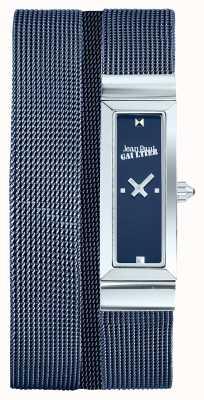 Jean Paul Gaultier Mulheres cote de maille azul pvd malha pulseira mostrador azul JP8503904