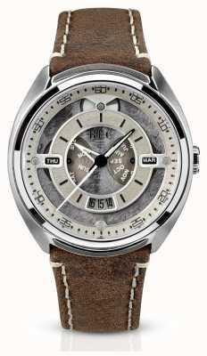 REC Porsche pulseira de couro marrom automático mostrador branco P-901-02