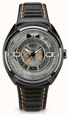 REC Porsche pulseira de couro preto automático mostrador cinza p-901-03
