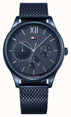 Tommy Hilfiger Mostrador azul com pulseira de malha azul damon para homem 1791421