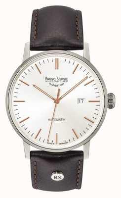 Bruno Sohnle Estugarda grande automático 44mm relógio de couro preto 17-12173-245
