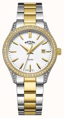 Rotary Relógio de quartzo de aço inoxidável de dois tons oxford para mulher LB05093/02
