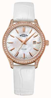 Rotary Pulseira de couro de oxford das mulheres subiu relógio de quartzo de ouro LS05096/41