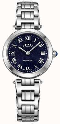 Rotary Relógio de quartzo de aço kensington midnight sky para mulher LB05190/67
