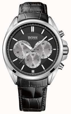 Hugo Boss Relógio de cronógrafo de couro preto para homem 1512879