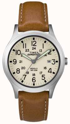Timex Mens expedição scout tan pulseira de couro natural dial TW4B11000